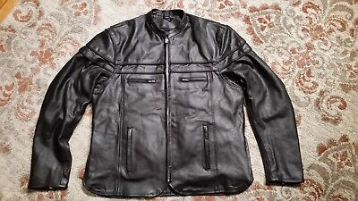 - INTERSTATE LEATHER BLACK CAFE MOTORCYCLE JACKET ZIP OUT LINER WOMENS SIZE XLARGE