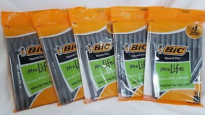 Bic Round Stic Pens X-tra Life Black Ink 10-pack New Lot Of 5 50 Pens
