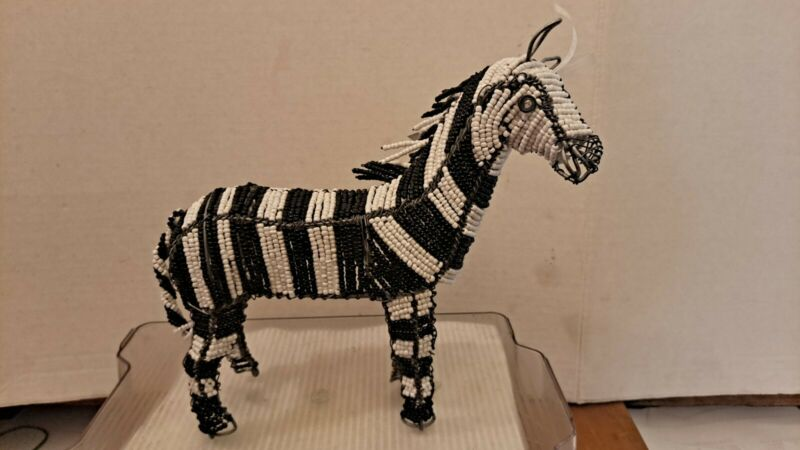 South African Bead Wire Zebra Handcrafted Black White