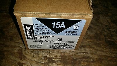Qty 12. 15 Amp Murray Single Pole Breakers 1 Pole Mp115