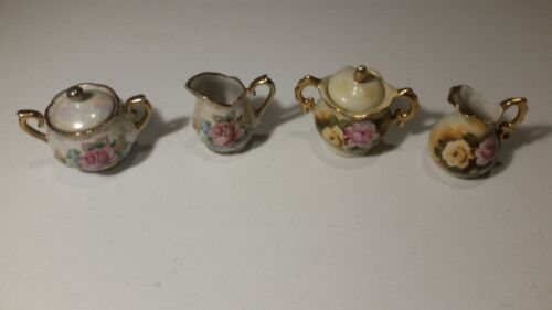 2 Vintage Flowers Pattern Cream And Sugar Sets Gold Trimmed Unmarked