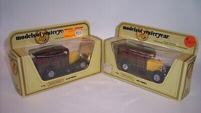 "TWO ""MATCHBOX"" YESTERYEAR Y-21 FORD MODEL A WOODIE *MATTE & GLOSS BASES* MIB"