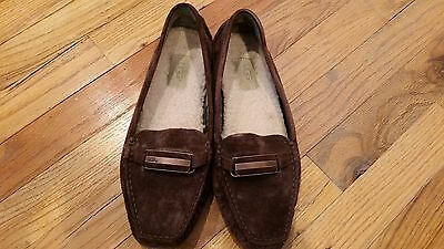 Ugg 5937 Brown Suede Shearling Lined Moc Toe Horsebit Driving Loafers Womens 8.5 for sale  Bellmore