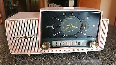 Vintage General Electric Pink Alarm Clock  Tube Radio