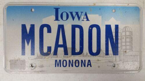 EXPIRED IOWA Monona County License Plate MCADON