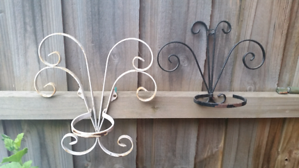 2 Vintage Wrought Iron Wall Plant Holders
