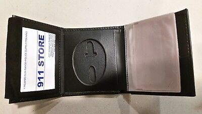 Police Law Enforcement Wallet Leather Recessed Badge Oval Cutout Tri Fold