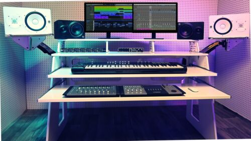 """Studio Recording Production Workstation Desk 58""""DUAL DRAWER + MONITOR WINGS+LED"""