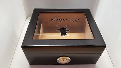 Cigar Humidor Black Wood Box Hygrometer Humidifier Case Glass Desktop