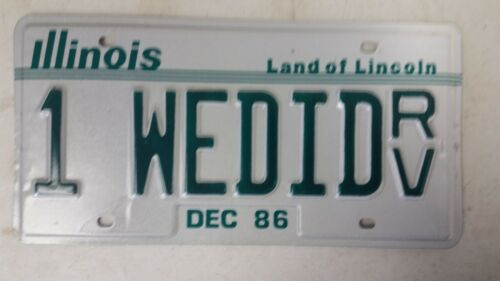 1986 ILLINOIS Land of Lincoln License Plate 1 WEDID RV