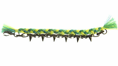JOOMI LIM Punk Carnival Green Braided Cotton Bracelet w/ Hematite Spikes