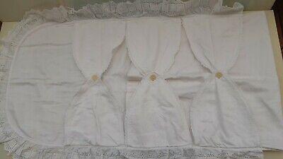 Steckkissen Bett Weisswäsche Wäsche antik Kinderbett Babybettwäsche antik Spitze