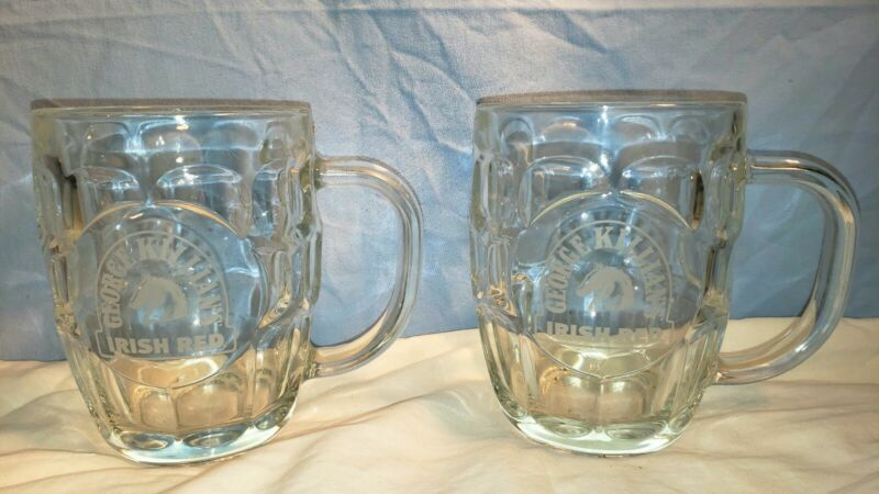 2 George Killians Irish Red Beer Dimpled Glass 16 oz Mug NEW Made In France