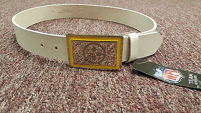(Pittsburgh Steelers White Leather belt Chrome Engraved Buckle size 30 to 46 )