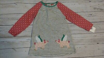 Mini Boden 12-18 Month Girl Long Sleeve Striped Cotton Jersey Dress Flying Pigs