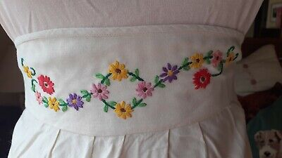 Vintage Cream Cotton Hand Embroidered Daisy Flowers Half Apron - Bright Colours