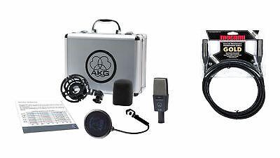 AKG C414 XLS Microphone w/ Premium 15-foot XLR Mogami Gold Cable Bundle for sale  Appleton
