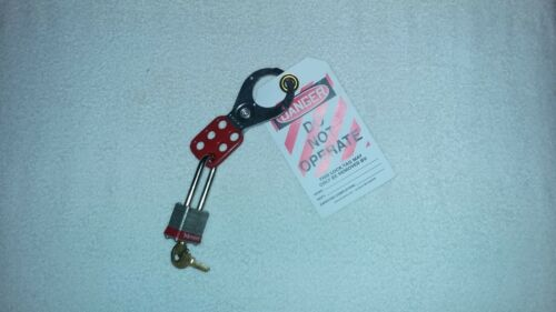 "NEW HEAVY DUTY PERSONAL LOCKOUT / TAG OUT KIT  WITH LOCK, 1.5"" STEEL HASP, TAG"