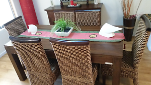 Balinese dining table and chairs Meadow Springs Mandurah Area Preview