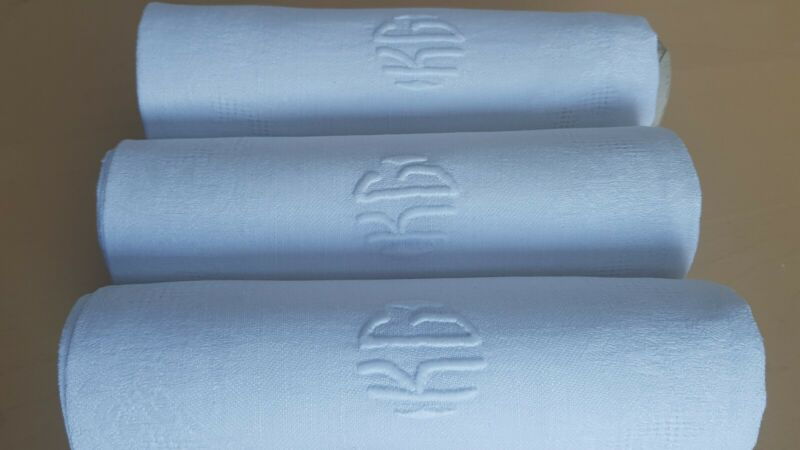 12 Antique French  Linen DAMASK Tablecloth embroidered napkins  monogram KC / KG