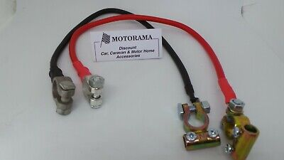 """2x HEAVY DUTY LEISURE BATTERY LINK JOIN/HOOK UP COPPER CABLES 18""""LONG INC CLAMPS"""