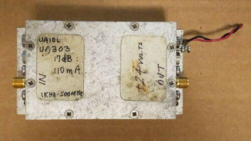 RF Microwave Amp Amplifier 17dB 1KHz-500MHz +24VDC 110mA SMA(f) UA10L UA303