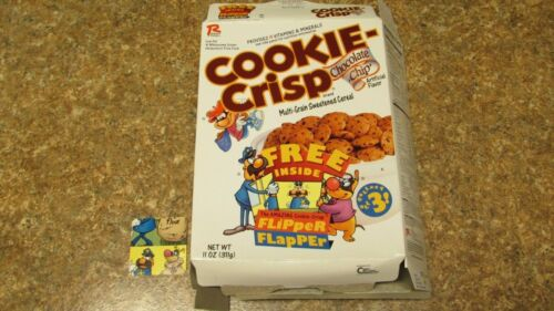 Cookie Crisp Cereal Box 1996 FLAT With Flipper Flapper