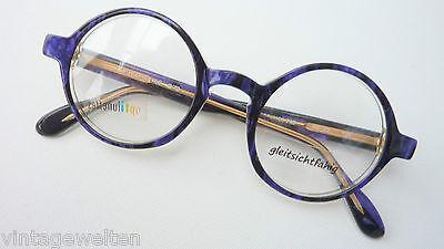 Brille mit runden Gläsern Plastik Professorbrille Vintage schwarz-lila Grösse S