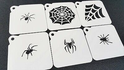 Halloween Face Paint Set (Set of 6pcs COBWEB SPIDERS Halloween Airbrush Paint Stencils Face Body Web)