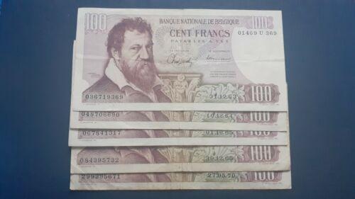 Lot of 5 Belgium banknotes