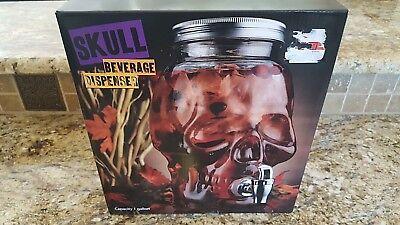1 Gallon Solid Glass Skull Beverage Dispenser, New In Box](Halloween Decorations Drink Dispenser)