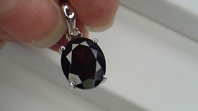 - New 14K White Gold Garnet Diamond Slide Pendant Ladies Gemstone Fine Jewelry