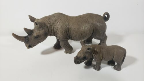 Schleich Black African Rhino Adult 14394 and Baby 14395