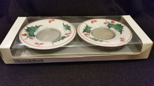 S/2 VINTAGE VILLEROY & BOXH HOLLY BERRIES TEALIGHT CANDLE HOLDERS~LNIB