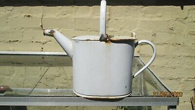Original Vintage Shabby Chic White Enamelled Garden Watering Can
