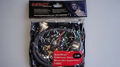 Impact Acoustics SonicWave Component Video Break Out interconnect 3ft Cable - 3 Sonicwave Component Video