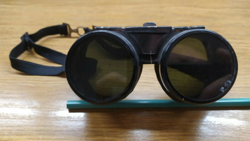 Vintage Gas cutting metal Goggles glasses Steampunk Motorcycle Aviator Flip Up