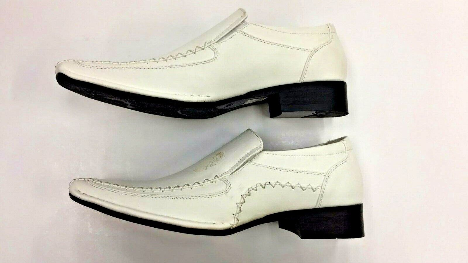 New! Dress Casual Shoes for Men Slip on Leather Lining White