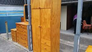 CLEAN PINE VENEER WARDROBE*4 DRAWERS*2 DOOR*OVERHEAD STORAGE Cartwright Liverpool Area Preview