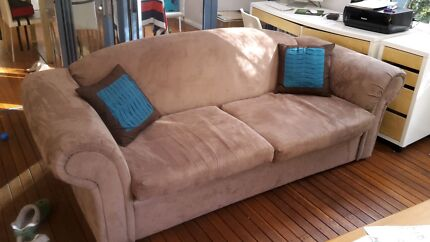 Brown suede couch Elanora Heights Pittwater Area Preview