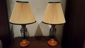 2x Steel and Wood Bedside Table Lamps North Melbourne Melbourne City Preview