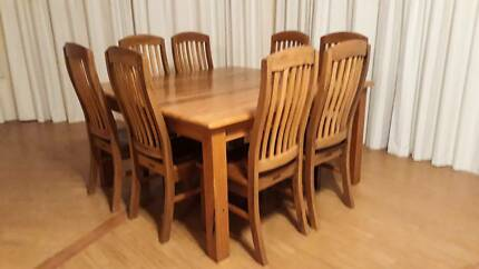 Marri Dining Table 8 Chairs