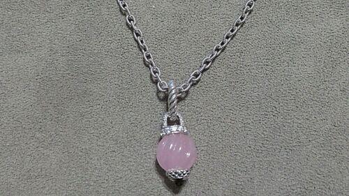 """NWOT Judith Ripka SS 17"""" Necklace/Carved Pink Jade Enhancer Set - ALL RETIRED!!"""
