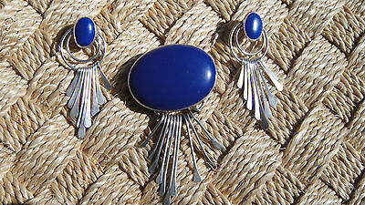 Vintage Sterling Silver Lapis earrings and brooch pin pendant Dangles
