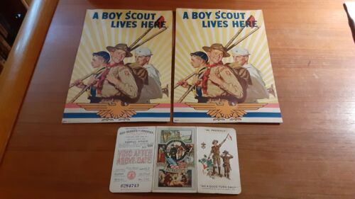 """2 """"A Boy Scout Lives Here"""" Signs and Scout Membership Card from 1939"""