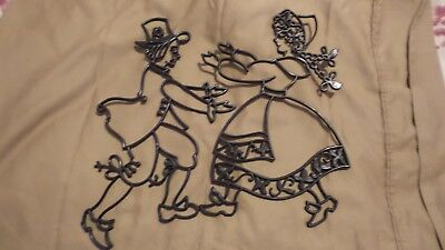 (Vintage Black Plastic Silouette of Dancing Dutch Boy and Girl for Wall Perfect!)