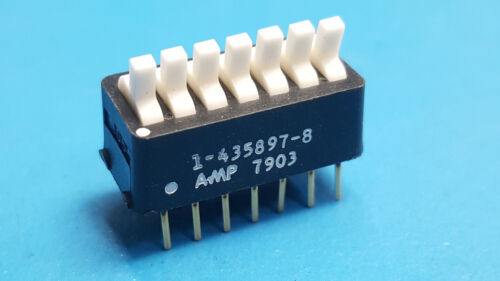 Toggle Dip Switch, Breadboard Switch, 7 Position, AMP, 1-435897-8, LOT OF 16 Pcs