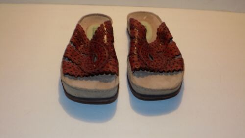 Women's Kalso Earth Holly Brown Leather Slide Sandals US Size 9 B