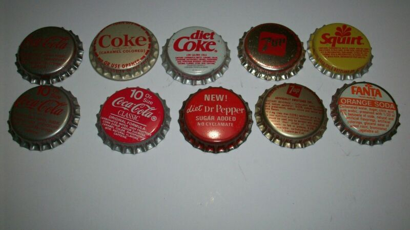10 SODA POP BOTTLE CAPS UNCRIMPED:FANTA, DIET COKE, COKE CLASSIC, DIET DR PEPPER
