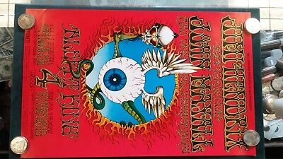 Jimi Hendrix Flying Eyeball Rick Griffin BG-105 Original 1968 2nd Print Poster